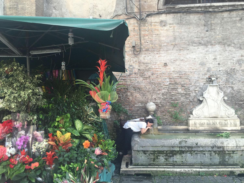 Daniela vid fontän i Rom