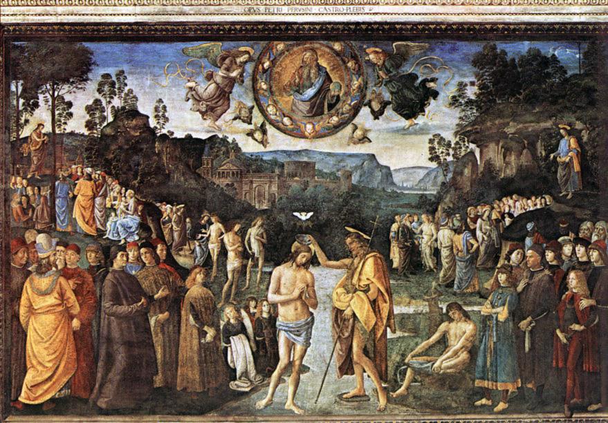 Jesu dop. Pietro Perugino och Pinturicchio.