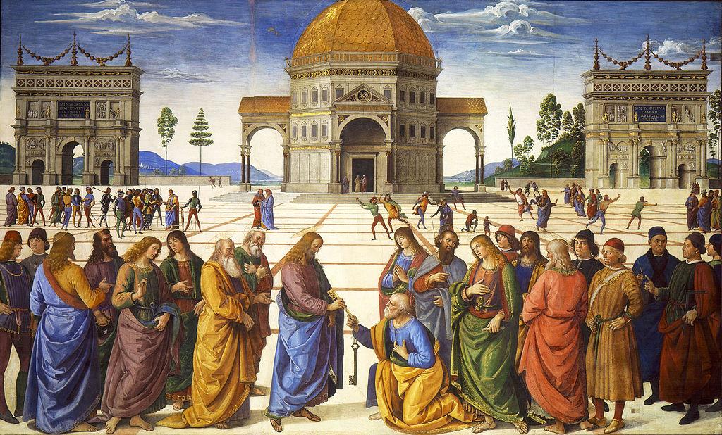 Överlämnandet av nyckelmakten till Petrus. Pietro Perugino och Pinturicchio.