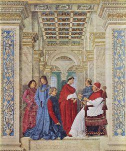 Melozzo da Forli, Sixtus IV utnämner Bartolomeo Platina till Vatikanbinliotekets förste prefekt