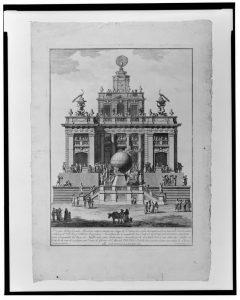 En av de sista Macchine, rest p å Piazza degli Apostoli 1785.